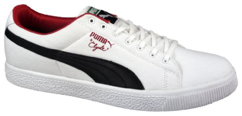 Puma Mens Clyde Canvas Leather Fs Bianco / Nero / Chili Pepper Fashion Athletics Taglia 12