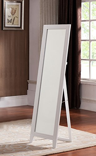 khome white finish wood frame floor standing mirror with foldable back support buy online in. Black Bedroom Furniture Sets. Home Design Ideas
