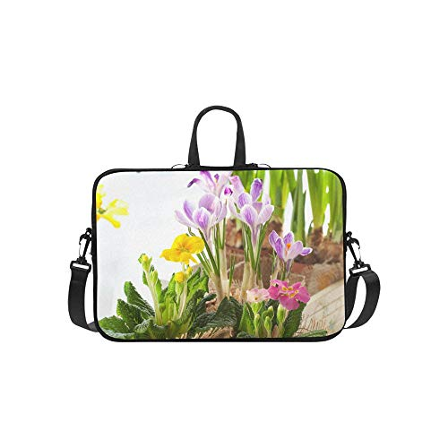 (Spring Yellow Flower Narcissus with Garden Pattern Briefcase Laptop Bag Messenger Shoulder Work Bag Crossbody Handbag for Business Travelling)