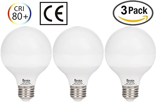 [3 Pack] Simba Lighting LED G25 Globe 6W 600lm 40W Incandescent Equivalent 270° Beam Angle 120V for Vanity Makeup Lighting, Standard Medium E26 Base, PC Cover, Non-Dimmable, Warm White 2700K - Standard Vanity Lighting
