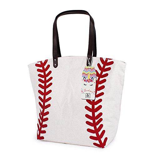 YIQIGO Baseball Bag Handbag for Woman Shopping Bag Travel Bag Canvas Casual Bag with Polyester Linning Sports Bag (Off White)