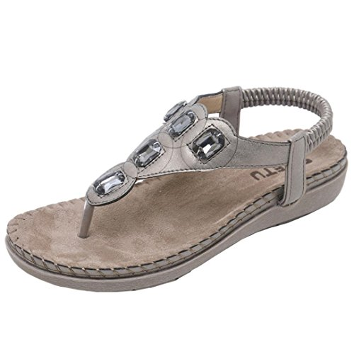 UOKNICE SANDALS New Summer Women Sandals Flat Casual Metal Shoes Soft Rhinestone Thong Sandals(Gray-3, CN41(US (Jersey Leather Thongs)