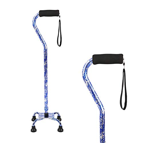 Quad Walking Cane, Offset Walking Cane with Unique Blue&White Porcelain Pattern Lightweight Adjustable Staff Comfortable Grip for Stability Support 4 Prong Sturdy Aluminum Travel Aid, 4 Tip