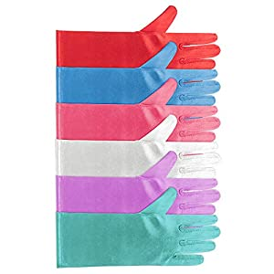 Formal Pageant Wedding Ages 3 to 8 Years Old 9 Pairs Girls Satin Gloves Bowknot Gloves Princess Gloves for Kids Party