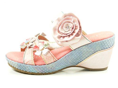 Laura Vita Sl3036-5a Beaute 05 Scarpe Donna Sandali Con Zeppa Pantolettes Rosa