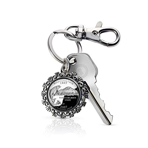Akissey United States Quarter Dollar Photo Charm Key Chain, Patriotic Key Fob (Washington)