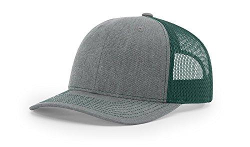 Trucker Style Hat - richardson 112 Heather Grey/Dark Green mesh back trucker cap snapback structured hat