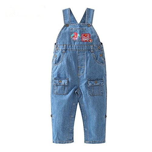 Kids Denim Dungarees Snappy Tape Jeans Toddler Infant Overalls Bib Trousers Jumpsuit (12-18Months, Blue)