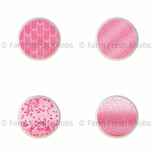 SET OF 4 KNOBS - Hot Pink - DECORATIVE Glossy CERAMIC Cupboard Cabinet PULLS Dresser Drawer KNOBS from Farm Fresh Knobs & Pulls