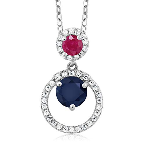 (Gem Stone King 1.90 Ct Round Blue Sapphire Red Ruby 925 Sterling Silver Pendant)