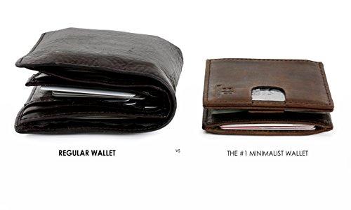 ca54ddd5a22 SERMAN BRANDS- RFID Blocking Bifold Slim Genuine Leather Thin Minimalist  Front Pocket Wallets for Men Money ...