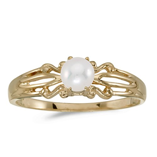 14k Gold Round Cream Pearl Solitaire Split Shank Design Promise Engagement Fashion Ring - Yellow-gold, Size 12.5