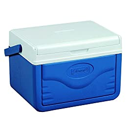 Coleman FlipLid Personal Cooler, 5 Quarts 3 Holds 6 cans FlipLid top reverse to become a serving tray Molded can holders on inside of lid