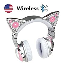 Limited New Edition Wireless Bluetooth Cat Ear Headphones White Frame Deluxe (8 Color Changing) Set with Headphone Mic Audio Y Splitter Cable Smartphone Headset to PC Adapter