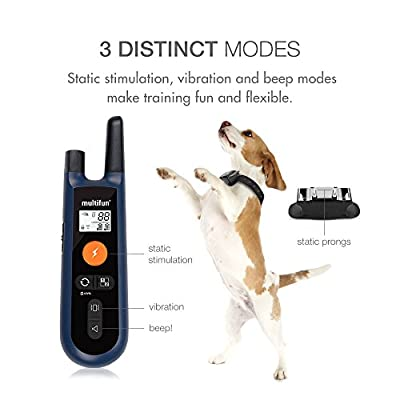 Waterproof Dog Training Collar, multifun Remote Electronic Collar, Rechargeable Dog Collar with Beep Vibration and Shock Function
