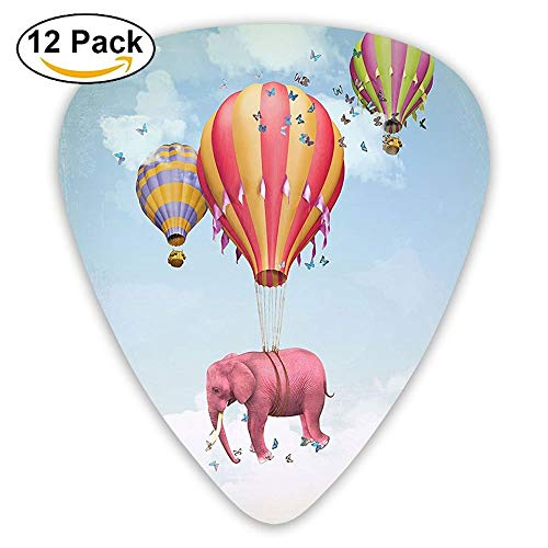 (Pink Elephant In The Sky With Balloons Illustration Daydream Fairytale Travel Guitar Picks 12/Pack Set)
