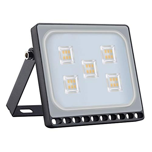 Proyector LED para exteriores, reflector IP65, diseno ultradelgado y ultraligero para jardin, jardin, terraza, cuadrado [Clase de eficiencia energetica A ++] (30W, Blanco Calido)