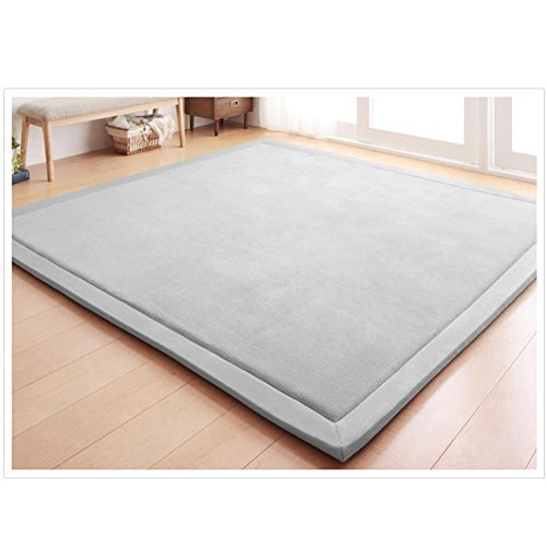 "Nursery Rug Coral Velvet Crawling Rugs Mat Area Rugs Play Crawling Mat(6'8""x7'9"", Gray) for Baby Toddler Children Play Mat Yoga Mat Exercise Pads Carpet"