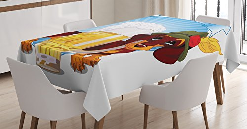 Oktoberfest Decorations Tablecloth by Ambesonne, Illustration of Dachshund Dog and a Pint of Beer on Striped Background, Dining Room Kitchen Rectangular Table Cover, 60 X 90 Inches, Blue Yellow Brown
