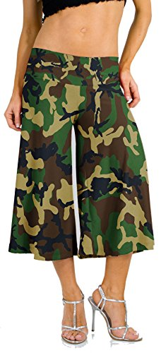 Hot Fash Stretch Gaucho Pants with Banded Waist from Pants - Capri Saleen (Medium, ()