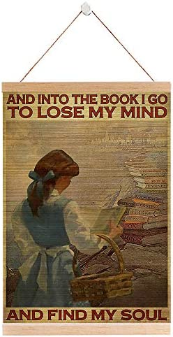 into The Book, i go to Lose My Mind and find My Soul | Girl Read Book| Wall Art Bamboo Scroll for Decor | Bamboo Blinds Printing, Framed | Natural Eco-frendly Artwork Home Decoration | 15 x 22 inches