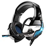 Gaming Headset for PS4, Xbox One, PC Headphones with Microphone LED Light Mic for Nintendo Switch Playstation Computer, K5 pro (Black&Blue)