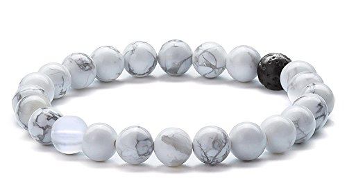 (Hamoery Men Women 8mm Tiger Eye Stone Beads Bracelet Elastic Natural Stone Yoga Bracelet Bangle(Simulated Howlite))