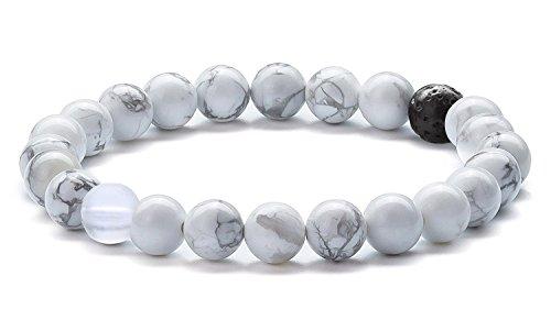Hamoery Men Women 8mm Tiger Eye Stone Beads Bracelet Elastic Natural Stone Yoga Bracelet Bangle(Simulated Howlite) ()