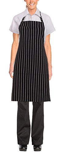 Chef Works mens Bib Apron apparel accessories, Black/White Chalk Stripe, 34.25-Inch Length by 27-Inch Width US 6