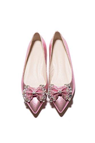 Carolbar Para Mujer Rhinestones Del Dedo Del Pie Acentuado Arcos Fecha Vestido Pisos Zapatos Rosa
