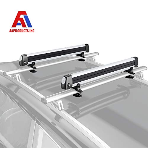 AA Products 33 Aluminum Universal Ski Roof Rack Fits 6 Pairs Skis or 4 Snowboards, Ski Roof Carrier Fit Most Vehicles Equipped Cross Bars