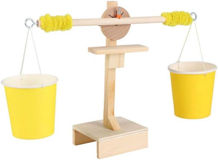 Toyvian Balanza de Madera Juguete Bricolaje Ensamblar Experimento Científico de Madera Escalas Juguete Juego de Equilibrio Juguete para Niños Pequeños Niños Niños