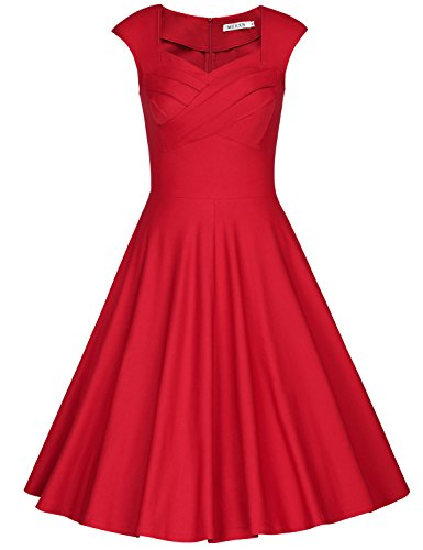 MUXXN Women's 1950s Vintage Retro Cap Shoulder Party Swing Dress (S, Red)