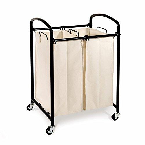 Seville Classics Mobile Double Bag Compact Laundry Hamper Sorter Cart, Black