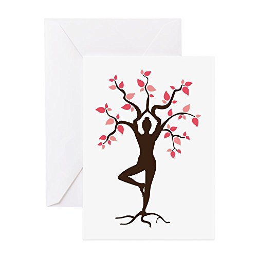 CafePress - Yoga Greeting Cards - Greeting Card (20-pack), Note Card with Blank Inside, Birthday Card Glossy by CafePress