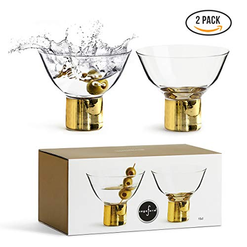 Mixed Stems (Sagaform Deluxe Stemmed Cocktail Glasses, 2 Pack – Short Martini Glass for Mixed Drinks, Glass with Gold Stems – Elegant Design for Weddings, Parties, Bars and Home)