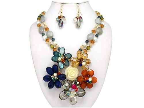 Gold Tone Blue Glass Beads (Cream Navy Blue Flower Theme Glass Bead & Imitation Pearl Gold-tone Necklace Set by Jewelry)