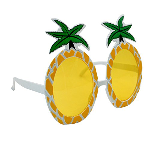 YAOSEN Hawaiian Novelty Glitter Pineapple Fruits Sunglasses Props Party Dancing Photo Decorations Fancy Frame - Eyeglass Size Frame Dimensions