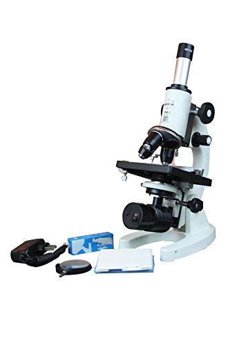 Radical 2500x Medical School Vet Lab Microscope w LED Battery Backup Lamp, 3D Stage, Slide Kit