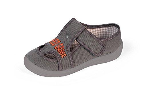 Yaro - Zapatillas de estar por casa de algodón para niño negro 018Schwarz BCGrau