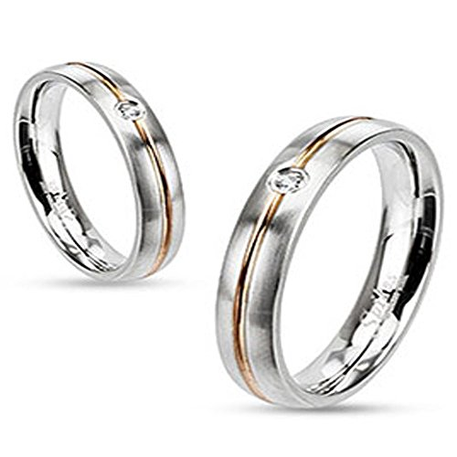 Stainless Steel Wedding Band Rose Gold IP Striped with Clear CZ, Ring Width of 4MM
