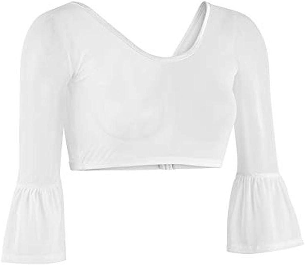 OverDose Damen Top Shirt Pullover Bluse Frauen Beide Tragen Sheer Party Yoga Schlank Plus Gr/ö/ße Nahtlose Arm Former Top Mesh Langarm Kleidung