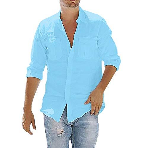 FONMA Men's Baggy Cotton Linen Pocket Solid Long Sleeve Retro T Shirts Tops Blouse -