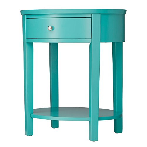ModHaus Teal Green Accent Table with Drawer | Modern Oval Shaped | Wood Finish Includes ModHaus Living (TM) (Eames Oval Table)