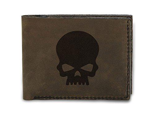 Men's Rock Style Skull -3 Handmade Genuine Leather Trifold Wallet MHLT_05