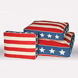 Unleashed Life Patriotic Jefferson Bed Eco-Friendly Dog Bed, Large