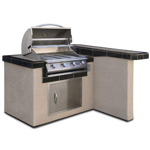 Cal Flame LBK401 Outdoor BBQ Island with 4-Burner Grill/Single Access Door/4-Feet Base - Kitchen Island Charcoal