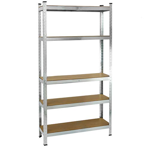 PrimeMatik - Galvanised Metal Shelving Unit for 5 Wooden Shelves 90 x 30 x 180 cm ()
