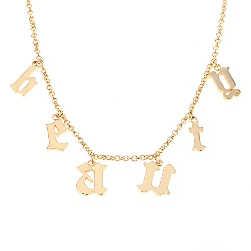 AOCHEE Personalized Old English Initial Necklace Custom Monogram Layered Name Choker (Style-3) by AOCHEE