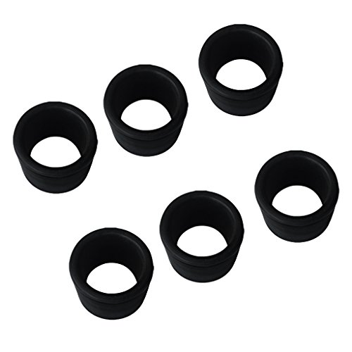 Rod Holder Inserts - Dovewill 6 Pieces Black Rubber 2'' 50.8mm Rod Holder Insert Protectors for Marine Boat Fishing Bait Board Stainless Steel Rod Holder